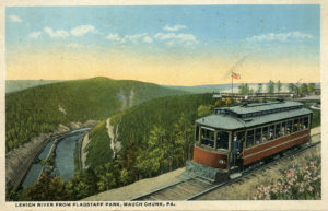 Flagstaff Park Lehigh river view with the trolley