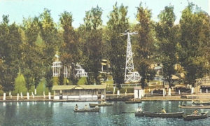 Amusements on the lake at Sanatoga Park circa 1929