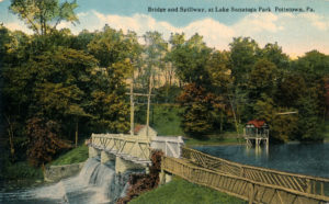 Bridge and Spillway at Lake - Sanatoga Park